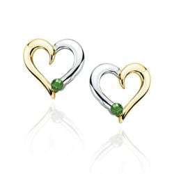 10k Two-tone Gold 1/10ct TGW Emerald Heart Earrings