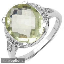 Malaika Sterling Silver Oval-cut Gemstone with Round-cut White Topaz Ring