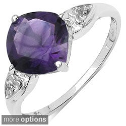 Malaika Sterling Silver Cushion-cut Gemstone and Prong-set White Topaz Ring