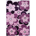 Harmony Flowers Purple Hand Carved Rug (7'10 x 9'10)