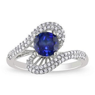 Miadora 10k Gold Created Sapphire and 1/3ct TDW Diamond Ring (G-H, I2-I3) (1ct TGW)