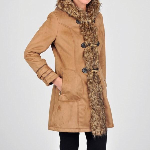 Weatherproof Women's Faux Shearling Hooded Toggle Coat