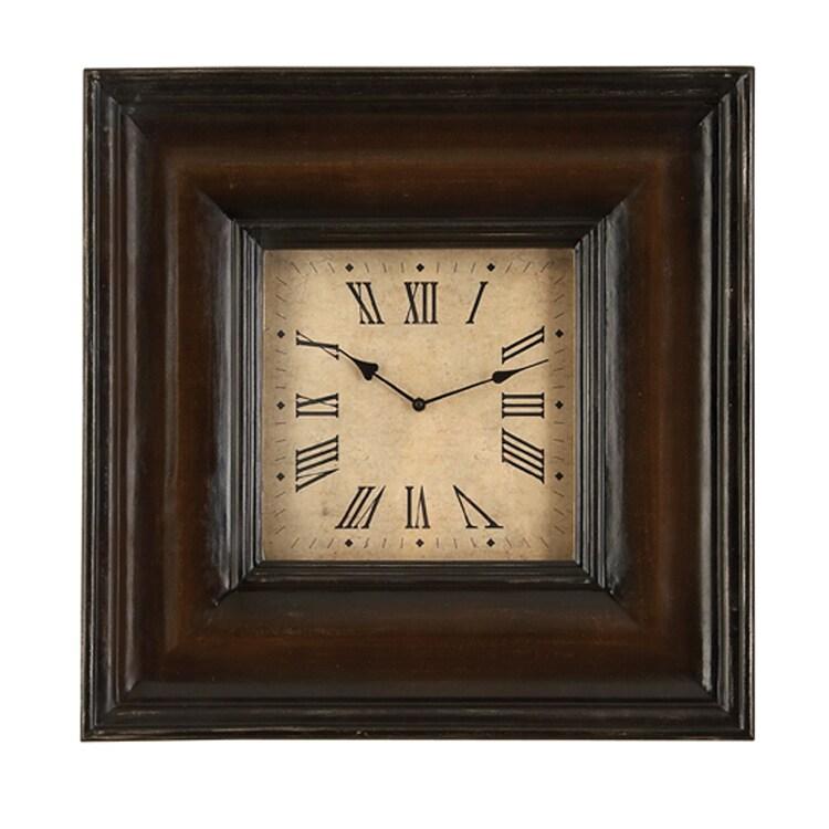 Casa Cortes Rome Square Antique Wood Wall Decor Clock