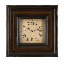 Casa Cortes Rome Square Antique Wood Wall Decor Clock