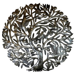 Handmade 'Tree of Life with Buds' 24-inch Recycled Wall Art , Handmade in Haiti