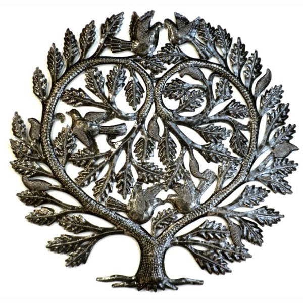 Recycled Steel Tree of Life 'Lover's Heart' Wall Art (Haiti)