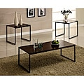 Contemporary Brown and Black Metal 3-piece Table Set