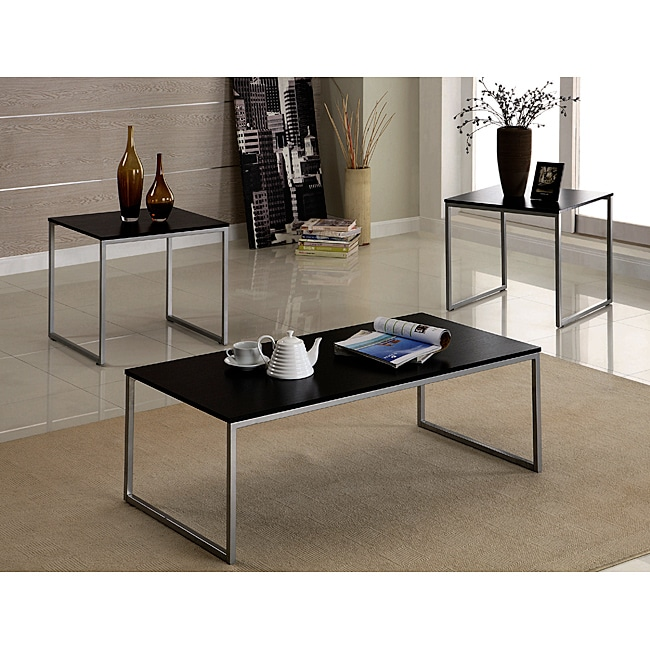 Contemporary Black and Silver Metal 3-piece Table Set