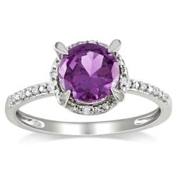 Miadora 10k Gold 1 3/5ct TGW Created Alexandrite and Diamond Accent Ring