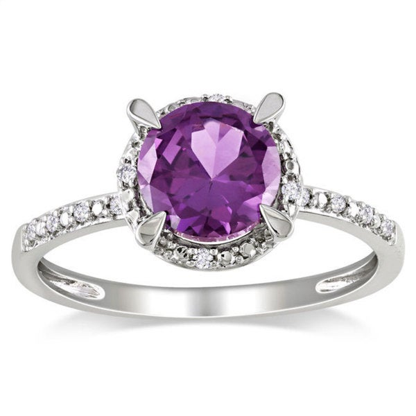 10k gold 1 3 5ct tgw created alexandrite and diamond accent ring