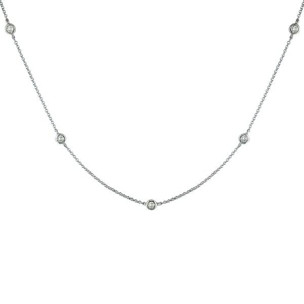 Miadora 14k White Gold 1/2ct TDW Diamond By-The-Yard Necklace (G-H, I1-I2)