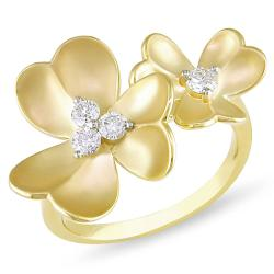 Miadora 18k Yellow Gold 1/4ct TDW Diamond Flower Ring (G-H, SI1-SI2)