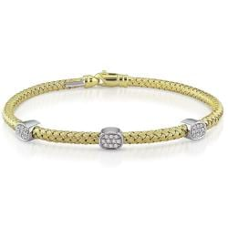 14k Two-tone Gold 1/4ct TDW Station Diamond Bracelet (G-H, SI1)