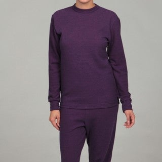 Kenyon Women's Purple Thermal Long-sleeved Wool-blend Crew Top