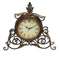 Athena Metal Scroll Table/Desk Clock