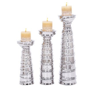 Casa Corter Silver Ceramic Pillar Candle Holders (Set of 3)