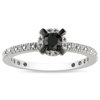 Haylee Jewels Sterling Sliver 1/3ct TDW Black and White Diamond Halo Ring (G-H, I3)
