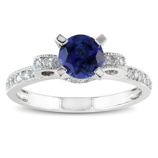 Miadora 10k Gold Created Sapphire and 1/2ct TDW Diamond Ring (G-H, I2) (1/4ct TGW)