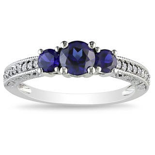 Miadora 10k Gold Created Sapphire and 1/6ct TDW Diamond Ring (G-H, I2) (1ct TGW)