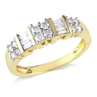 Miadora 14k Yellow Gold 1/2ct TDW Baguette and Round Cut Diamond Ring (G-H, I2-I3)