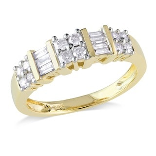 Miadora 14k Yellow Gold Baguette and Round-cut 1/2ct TDW Diamond Anniversary Band Ring (G-H, I2-I3)