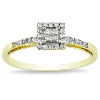 Miadora 10k Yellow Gold 1/5ct TDW Diamond Halo Ring (G-H, I2-I3)
