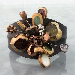 Floral Romance Glass Rose Leather Cuff Bracelet (Thailand)