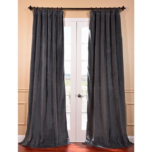 Natural Grey Velvet Blackout 96-Inch Curtain Panel