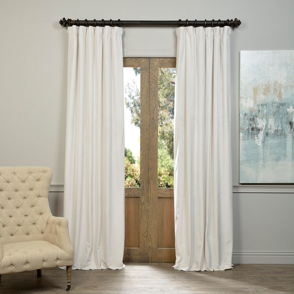 "Exclusive Fabrics Signature Off White Velvet Blackout Curtain Panel 120"" in Off White (As Is Item) 17260926"