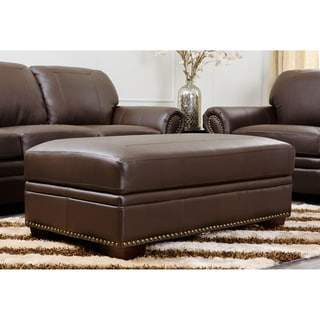Abbyson Living Bentley Italian Leather Ottoman Storage