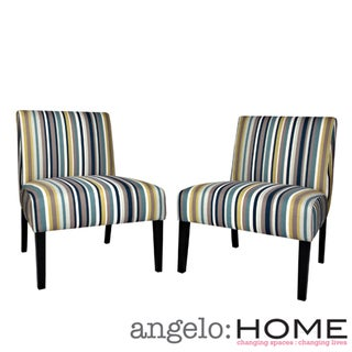 angelo:HOME Bradstreet Shoreline Stripe Blue Upholstered Armless Chair (Set of 2)