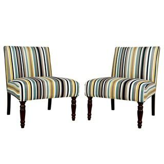 angelo:HOME Bradstreet Shoreline Stripe Blue Upholstered Armless Chair (Set of 2)