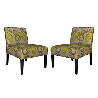 angelo:HOME Bradstreet Modern Lemongrass Paisley Upholstered Armless Chair (Set of 2)