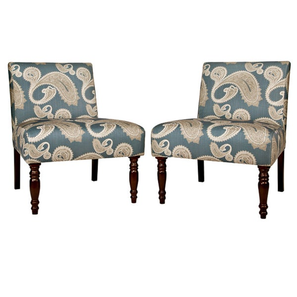 angelo:HOME Bradstreet Feathered Paisley French Blue Upholstered Armless Chair (Set of 2)