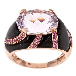 D'Yach 14k Rose Gold Kunzite, Onyx and Ceylon Pink Sapphire Ring