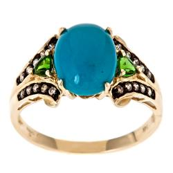 D'Yach 10k Yellow Gold Turquoise Ring with Chrome Diopsides and Brown Diamonds