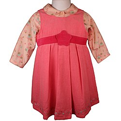 Laura Ashley Baby Girl's Pink Corduroy Jumper Dress Set