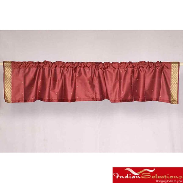 Maroon Sari Fabric Decorative Valances (India) (Pack of 2)