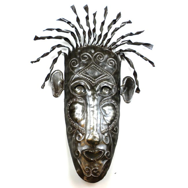 Recycled Oil Drum 'Haitian Mask' Wall Art (Haiti)
