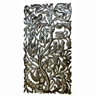 Recycled Steel 'Jungle Tree' Wall Art (Haiti)