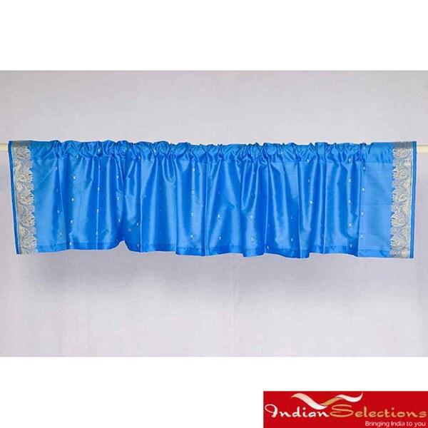 Turquoise Sari Fabric Decorative Valances (India) (Pack of 2)
