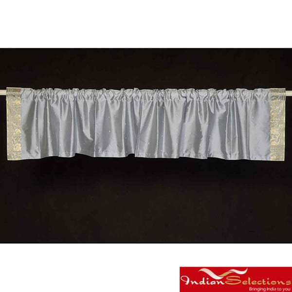 Grey Sari Fabric Decorative Valances (India) (Pack of 2)