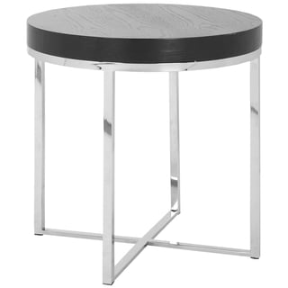 Safavieh Chic Wood Top Stainless Steel Round End Table