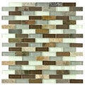 SomerTile Reflections Subway Tundra Glass/Stone Mosaic Tile (Pack of 10)