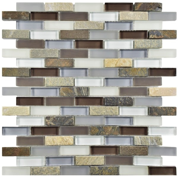 SomerTile 11.75x11.75-inch Reflections Subway Tundra Glass and Stone Mosaic Wall Tile (Case of 10)