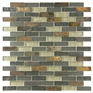 SomerTile Reflections Subway Wisp Glass/Stone Mosaic Tiles (Pack of 10)