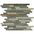 SomerTile Reflections Piano Wisp Glass/Stone Mosaic Tiles (Pack of 10)