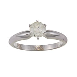 14k White Gold 5/8ct TDW Diamond Solitaire Engagement Ring (J-K, I1-I2)