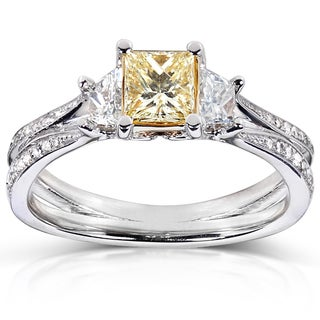 Annello 14k Gold 1ct TDW Certified Yellow and White Diamond Ring (FY, I1)