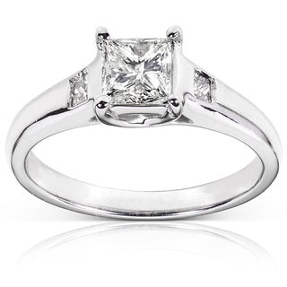 Annello Palladium 1ct TDW Certified Diamond Engagement Ring (J, SI2)